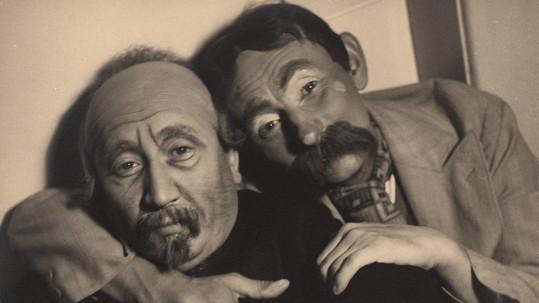 Vlasta Burian s kolegou Jaroslavem Marvanem.