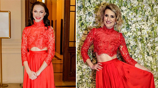 Kamila Nývltová a Lenka Špillarová ve stejných šatech