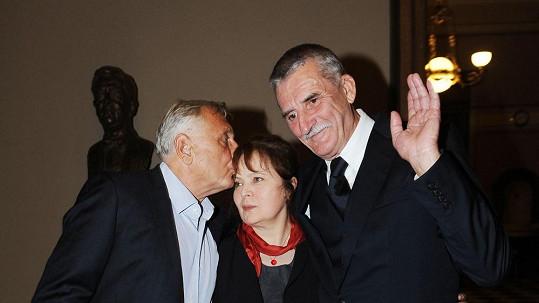 Libuše Šafránková s Jiřím Menzelem a Martinem Hubou