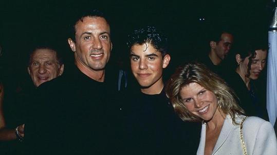 Sylvester Stallone s exmanželkou Sashou a jejich synem Sagem.