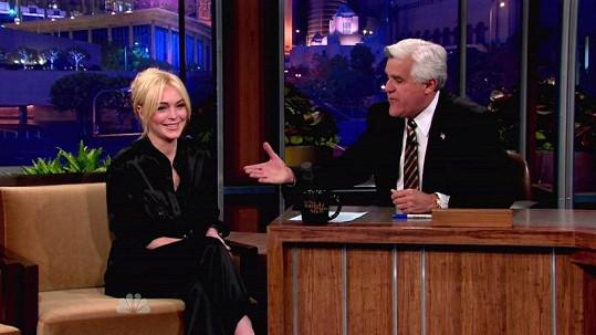 Lindsay Lohan v úterní talk show u Jaye Lena.
