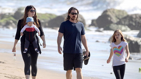 Christian Bale s rodinou