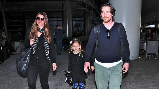 Christian Bale s manželkou a dcerou Emmeline