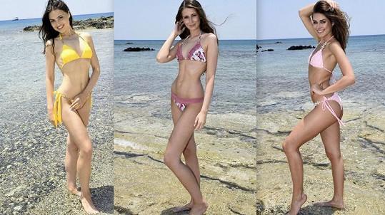 Finalistky České Miss se ukázaly v bikinách. Zleva Tereza Bagarová, Martina Antošová a Karolína Kokešová