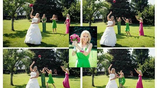 Michaela Ochotská chytila svatební kytici.