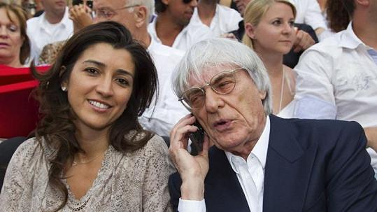 Bernie Ecclestone se svou novopečenou manželkou Fabianou Flosi.