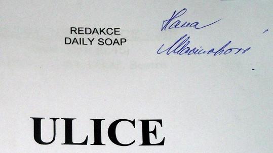 Ztracený scénář Ulice je podepsaný jménem Hana Maciuchová.
