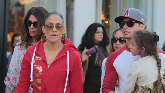 Jennifer Lopez s rodinou v Los Angeles.