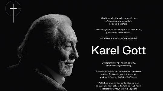 Rodina zveřejnila parte Karla Gotta.