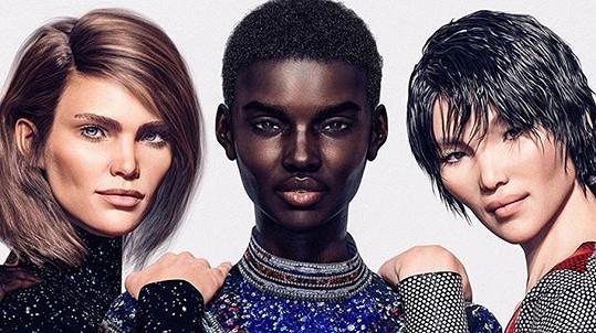 Francouzský módní dům Balmain vsadil v kampani na digitání modelky. Zleva Margot, Shudu a Zhi