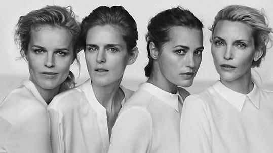 Eva Herzigová, Stella Tennant, Yasmin Le Bon a Nadja Auermann pro Armani
