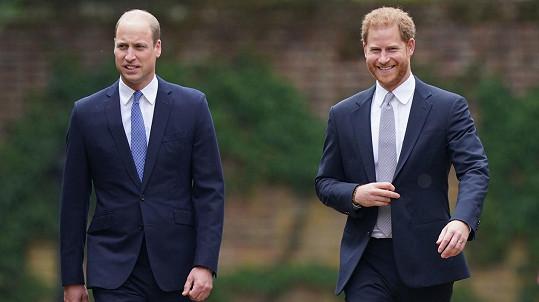 Princ William a princ Harry na odhalení sochy své matky