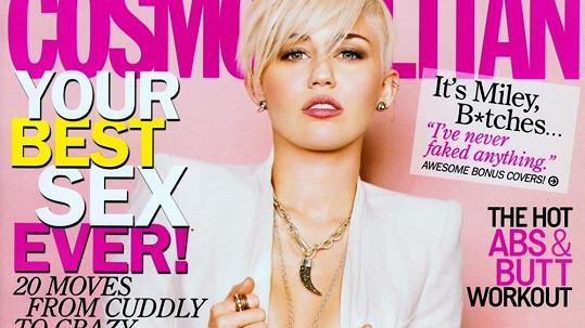Miley Cyrus na titulce Cosmopolitanu.