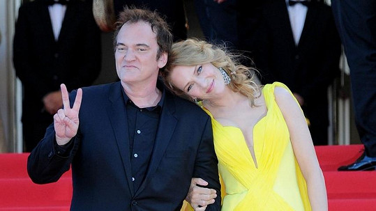 Uma Thurman a Quentin Tarantino jako milenci na červeném koberci