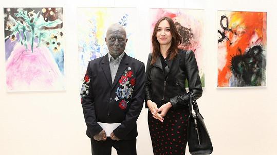 Vladimír Franz a Lucie Gelemová na umělcově vernisáži