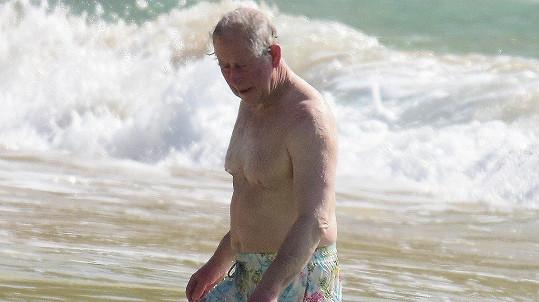 Princ Charles se koupal v Karibiku.