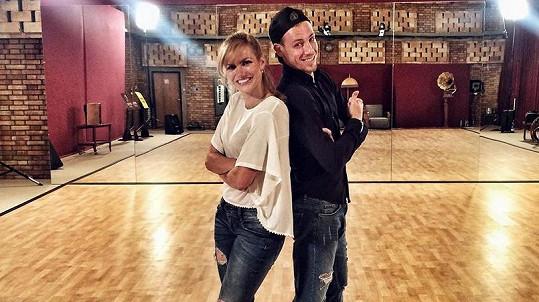 Koukalová na prvním tréninku se svým tanečníkem
