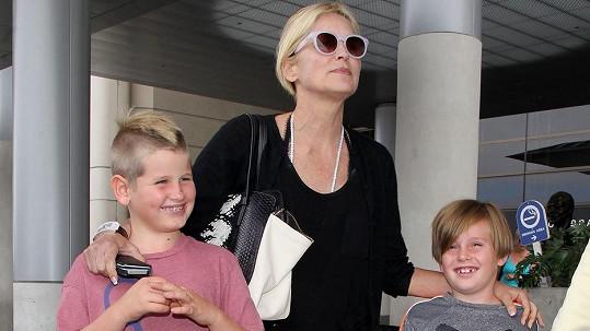 Sharon Stone se syny Lairdem a Quinnem