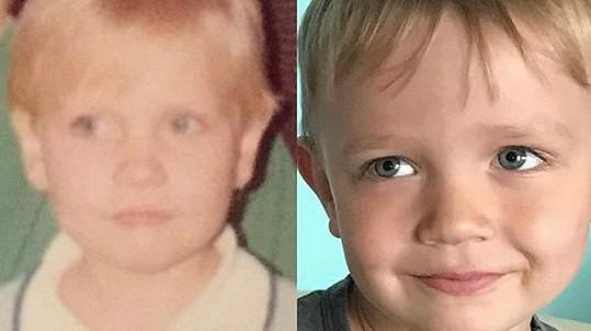 Malá Michaela Ochotská na archivním snímku (vlevo) a její syn André