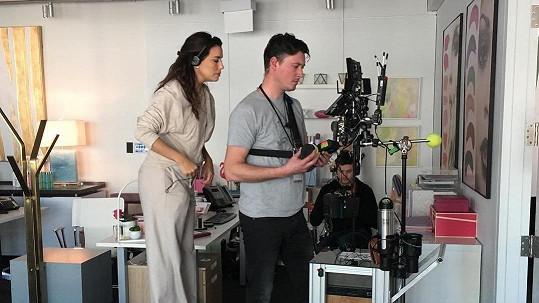 Eva Longoria na natáčení