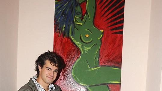 Jonáš Ledecký s jedním ze svých obrazů