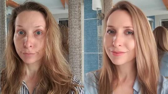 Tereza Bebarová před a po.