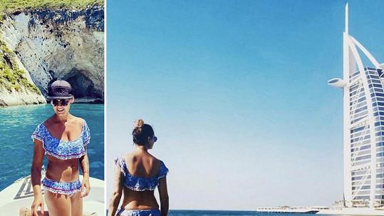 Michaela Salačová v Dubaji ve stejných plavkách, jako měla v Řecku.