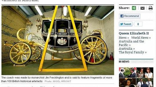 Kočár pro královnu na stránkách listu The Daily Telegraph.