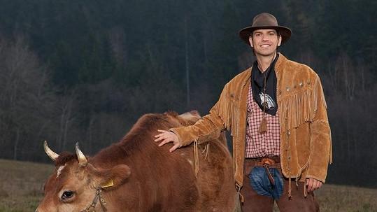 Kovboj amatér: Petr Vojnar měl z krávy ohromný strach.