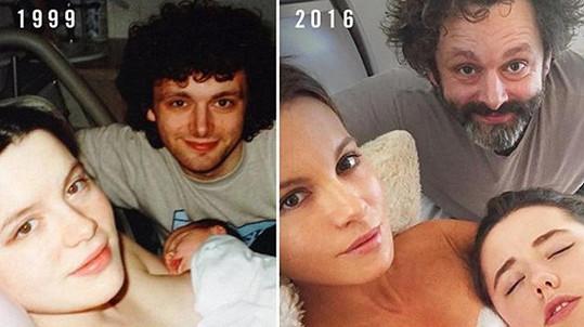 Po sedmnácti letech si herecký pár a jejich dcera udělali totožnou fotografii...