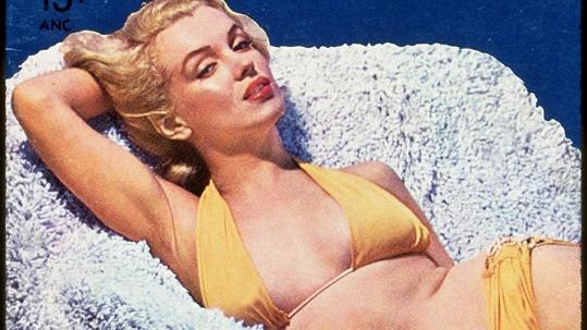 Marilyn ve žlutých bikinách v pánském časopise The Male Point of View.