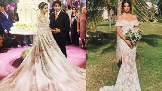 V šatech značky Ralph a Russo se vdala i dcera ruského miliardáře (vlevo) nebo modelka Shanina Shaik.
