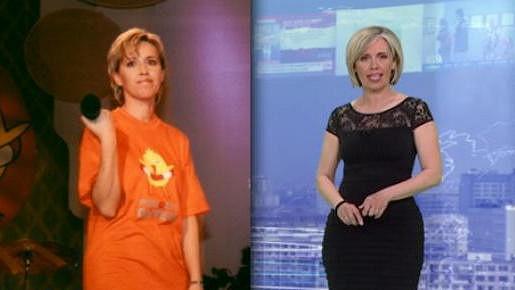 Alena Zárybnická v roce 2001 (vlevo) a dnes