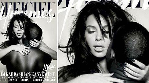 Kim Kardashian a Kanye West na obálce časopisu L'Officiel Hommes.