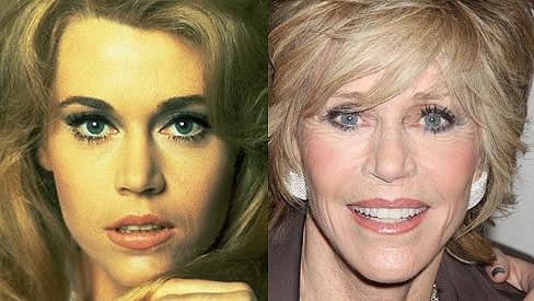 Nestárnoucí Jane Fonda před 43 lety a dnes.