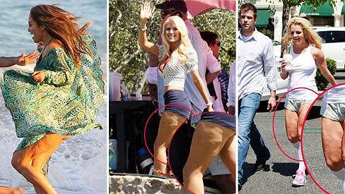 Jennifer Lopez, Heidi Montag i Britney Spears bojují s celulitidou.
