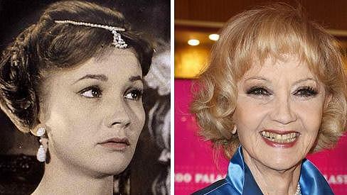 Liselotte Pulver v době své největší slávy na konci padesátých let a dnes