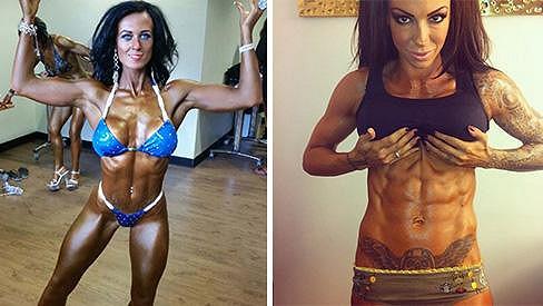 Amy Humble se nechala inspirovat modelkou Jodie Marsh (vpravo) a do cvičení šla po hlavě.