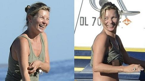 Kate Moss na dovolené odhalila část ze svých intimních partií.
