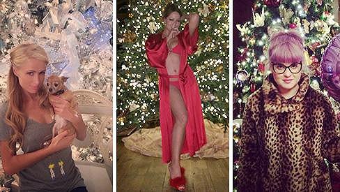 Takhle měly letos ozdobený stromeček Paris Hilton, Mariah Carey a Kelly Osbourne.