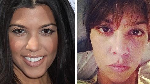 Kourtney Kardashian s make-upem a bez něj.
