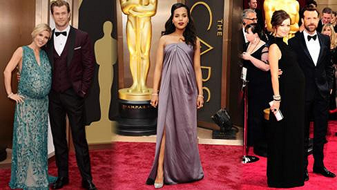Těhotenská móda na nejsledovanějších filmových cenách.