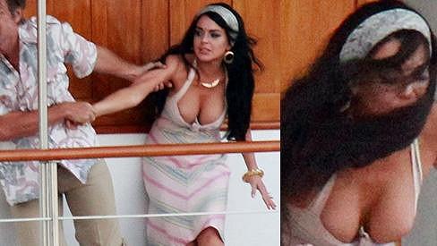 Lindsay Lohan během natáčení filmu Liz and Dick.