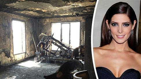 Ashley Green vyhořel byt.