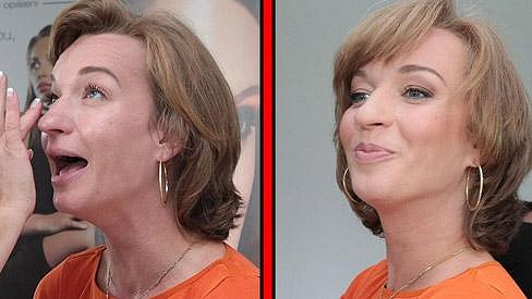 Sandra Pogodová před a po líčení.