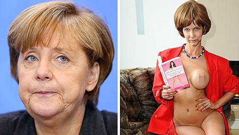 Micaela Schaefer se ve svém kalendáři převtělí do kancléřky Angely Merkel.