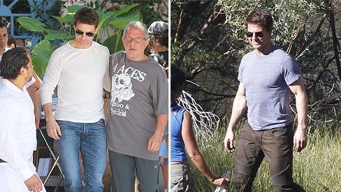 Tom Cruise od červencového natáčení (vpravo) viditelně pohubl.