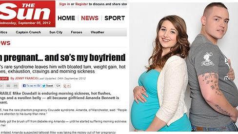 Britský pár prožívá těhotenské symptomy podobně.