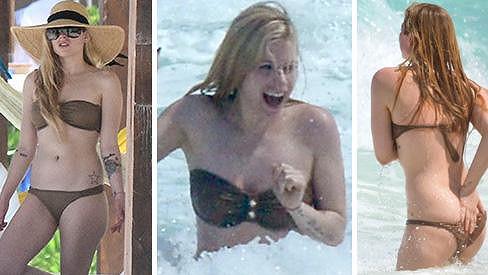 Avril Lavigne předvedla na pláži své tělo.