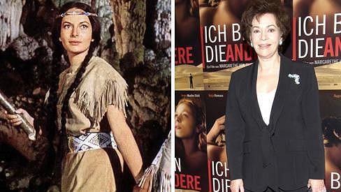 Karin Dor v jedné ze svých nejznámějších rolí a nyní.